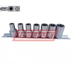 Set de tubulare Torx Plus pe blister patrat de 3/8